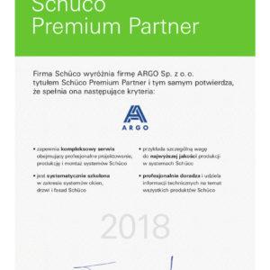 ARGO Certyfikaty Schueco_PremiumPartner 2018